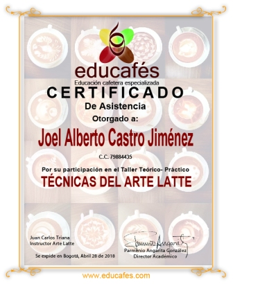CERTIFICADO ARTE LATEE